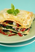 Mozzarella, sun-dried tomato, spinach and chive lasagnes