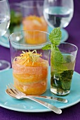 Citrus fruit Verrine, Rum syrup and mint infusion