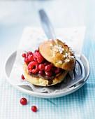 Chocolate and summer fruit brioche burger