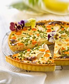 Salmon and spring vegetable savoury tart