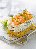 Shrimp, cream cheese and dill cheesecake