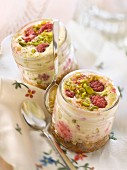Raspberry and pistachio cheesecake