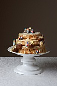 Cake with candied chestnuts and figurines