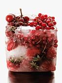 Bloc of frozen summer fruit