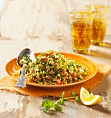 Lebanese tabbouleh with fresh mint