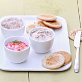 Tarama and seafood paté with mini blinis