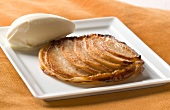 Thin pear tart and ginger sorbet