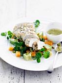 Melon and chicken breast salad