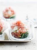 Watermelon granita with Parma ham and feta