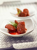 Chorizo cooked with red wine, garlic and olive oil