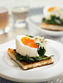 Soft-boiled egg, spinach and grated gruyère on toast
