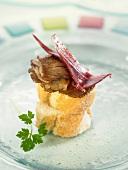 Serrano ham and pleurotus mushroom Crostini