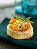 Tuna,smoked salmon ,mussel and green asparagus vol-au-vent