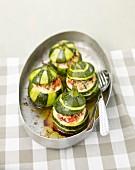Stuffed round zucchinis