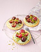 Pistachio cream and cherry tarlets