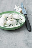 Monkfish and spinach casserole with blue cheese sauce
