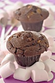 Marshmallow and chocolate muffins