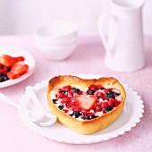 Heart-shaped summer fruit tartlets
