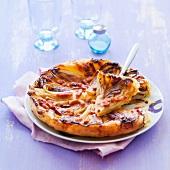 Chicory and diced bacon savoury tarte tatin