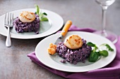 Scallops with scallop roe butter and mashed purple potatoes