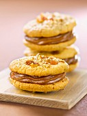 Dried fruit cookie sandwiches filled with chestnut cream
