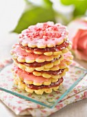 Rose cookie and raspberry jam Whoopies