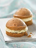 Chocolate cookie Whoopies filled with coconut cream