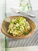 Green risotto with parmesan, celery, fennel and zucchinis