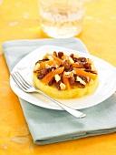 Polenta and dried fruit tartlet