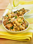 Tempeh with mushrooms,sweet corn and parsley