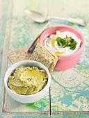 Chickpea and avocado spread and cream cheese spread