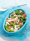 Rice macaronis,spinach,tomato and tofu Florentine salad