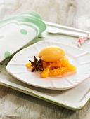 Sweet potato sorbet and mandarin oranges with Vodka