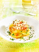 Potatoes with shrimps, saffron and parsley