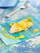 Dublin Bay prawn wrapped in saffron-flavored spaghetti
