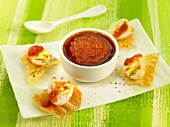 Tomato salsa with crispy egg appetizers