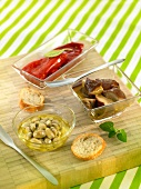 Selection of vegetables marinated in olive oil
