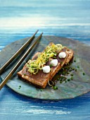 Tuna Tataki with lemon,ginger,wasabi and soya sauce