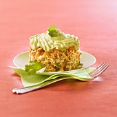Crab salad with avocado whipped cream