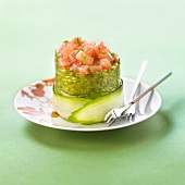 Tuna, rice and zucchini sushi Timbale