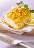 Piece of cod with parmesan crust