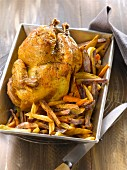 Roast chicken with three different flavored chips