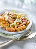Sauteed white tuna with stewed rhubarb and fennel