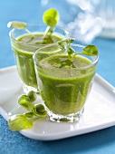 Chilled cream of pea and watercress soup