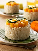 Rice and diced mango Timbale