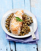 Salmon wrapped in caul with lentils