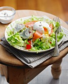 Salmon and artichoke mixed salad with a poached egg