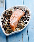Salmon with wild rice and mushrooms