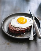 Beef fillet topped with a fried egg
