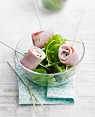 Boiled ham rolls with lettuce salad